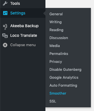Smoother settings