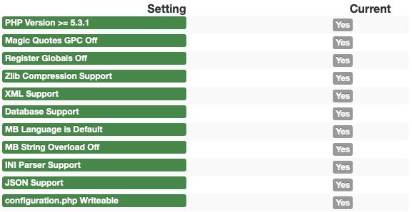 Joomla Quickstart Installation Pre-intstallation check