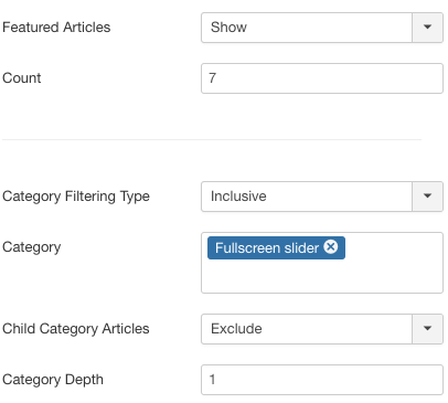 Joomla Fullscreen Slider Filtering Options