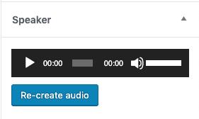 Page to Speech WordPress Speaker Player