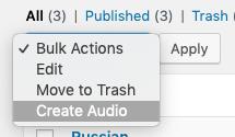 Bulk actions menu