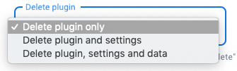 WordPress Plugin removal settings