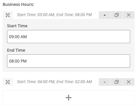 Business Hours in the Worker WPBakery
