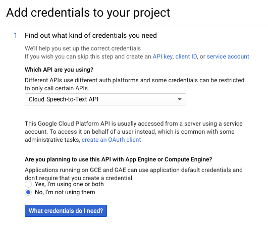 Add a credential to your project