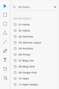 Adobe XD Pages and Layers