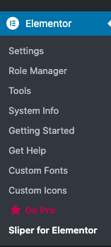 Sliper widget for Elementor in the Sidebar menu