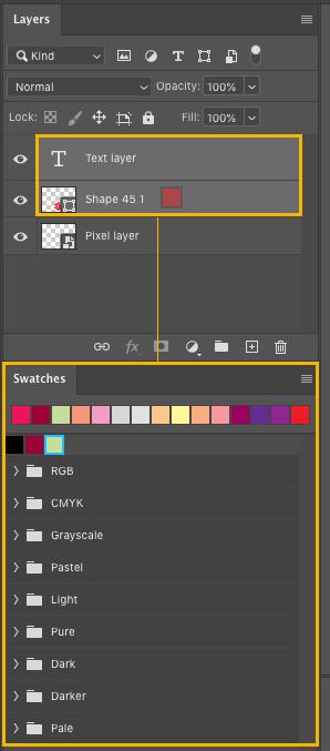 Photoshop color swatch for pixel layers
