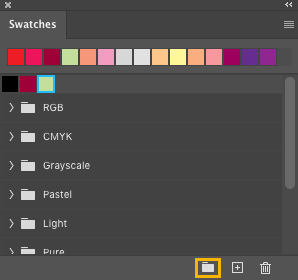 Photoshop color in Swatches panel